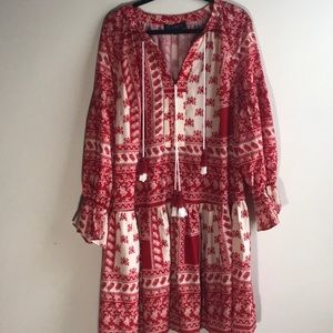 Red and cream bohemian dress